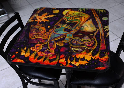 Tiki Fire Night Square Wooden Table Top - Two Sizes Available