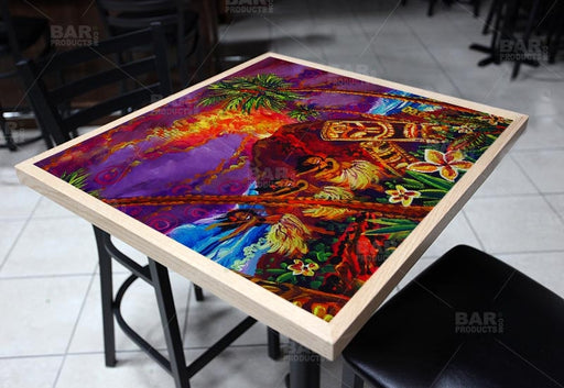 Tiki Hulu Show Square Wooden Table Top - Two Sizes Available