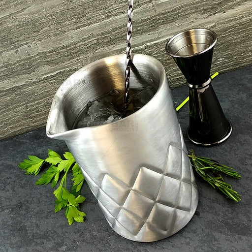 BarConic® Stainless Steel Mixing Pitcher - Double Wall Diamond Pattern - 500ml