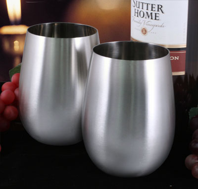 Stemless Wine Glass - Stainless Steel - 18 ounce