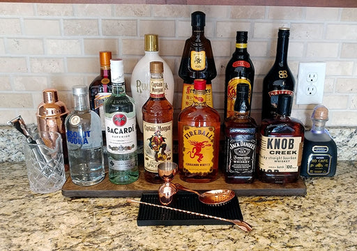 "Counter Caddies™ - STAINED Finish - 24"" STRAIGHT - Liquor/Wine Bottle Display"