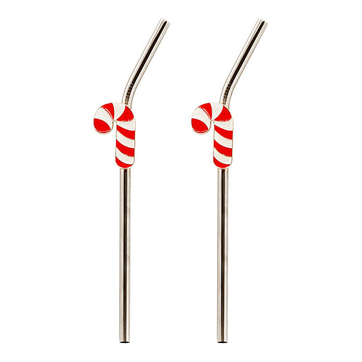 Stainless Steel Straws with Brush - Candy Cane - Set of 2