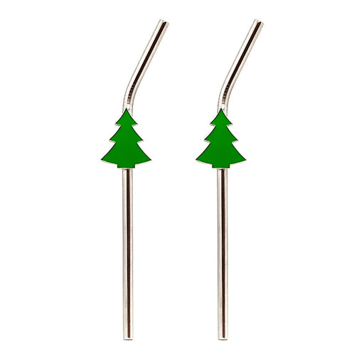 Stainless Steel Straws with Brush - Christmas Tree - Set of 2