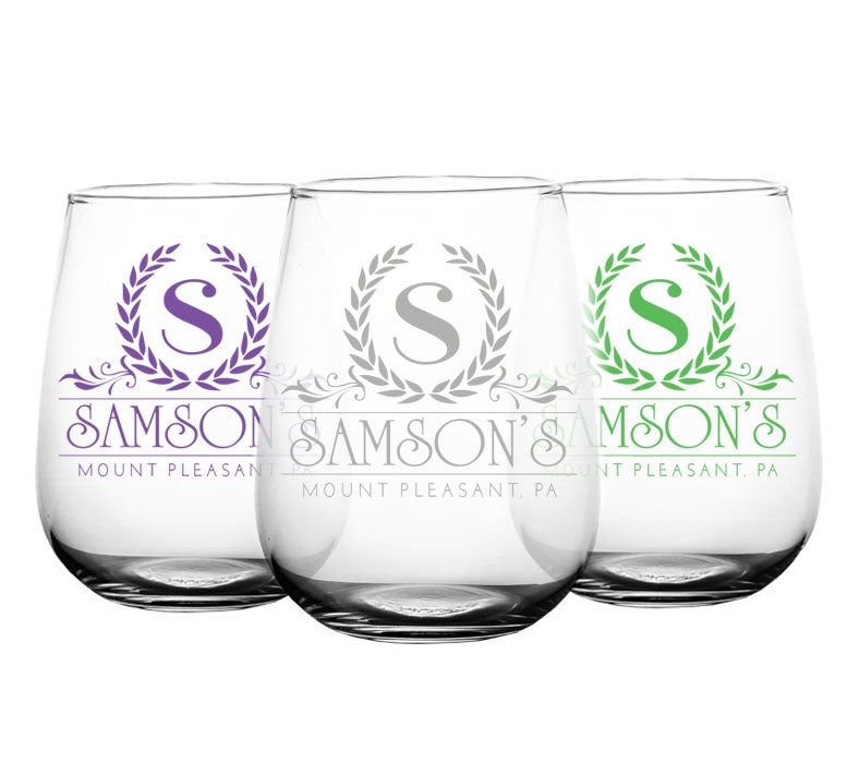 CUSTOMIZABLE - Stemless Wine Glass - 17 ounce - Crest Design 2