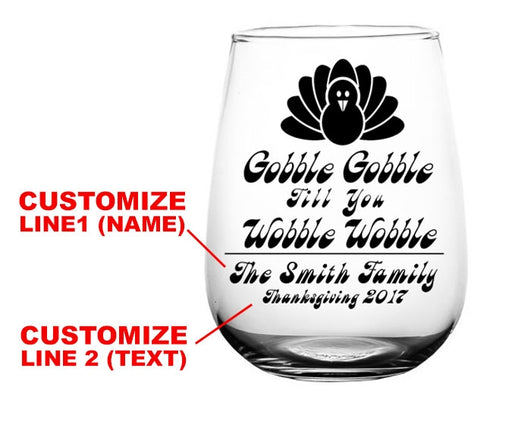 CUSTOMIZABLE - Stemless Wine Glass - 17 ounce -  Gobble Gobble