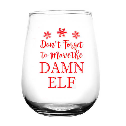 Move the Elf Stemless Wine Glass