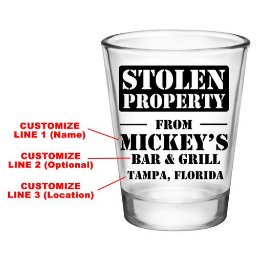 CUSTOMIZABLE - 1.75oz Clear Shot Glass - Stolen Property