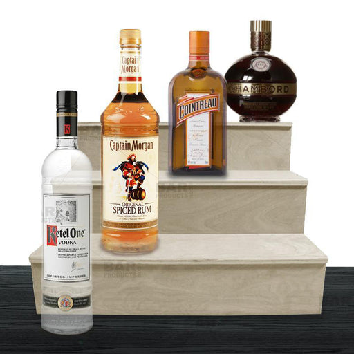 Wooden Liquor Shelves - 3 Tier - NATURAL