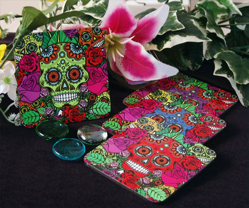 Cork Bottom Coaster - Sugar Skulls Series
