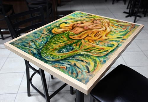 "Sunburst Mermaid 24"" x 30"" Wooden Table Top - Two Types Available"