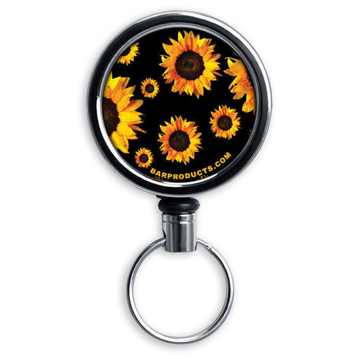 Mirrored Chrome Retractable Reel - Sunflowers