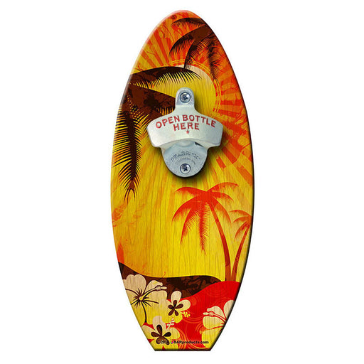 Sunrise Palm - Wooden Surfboard Wall Mounted Bottle Opener