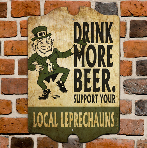 Support Your Local Leprechauns - Kolorcoat™  Wood Bar Sign - Tavern Shaped