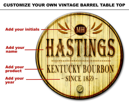 Custom Table Top – Wood Barrel Theme – Personalize