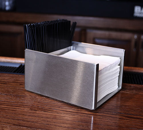 "Square Stainless Steel Napkin Holder - 3.5"" Tall"