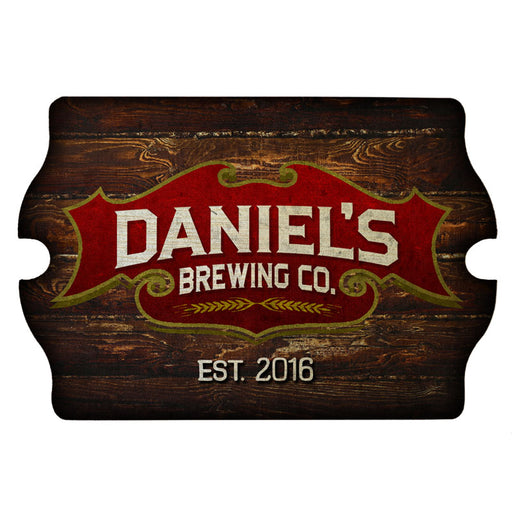 Custom Tavern Shaped Wood Bar Sign - Brewing Company
