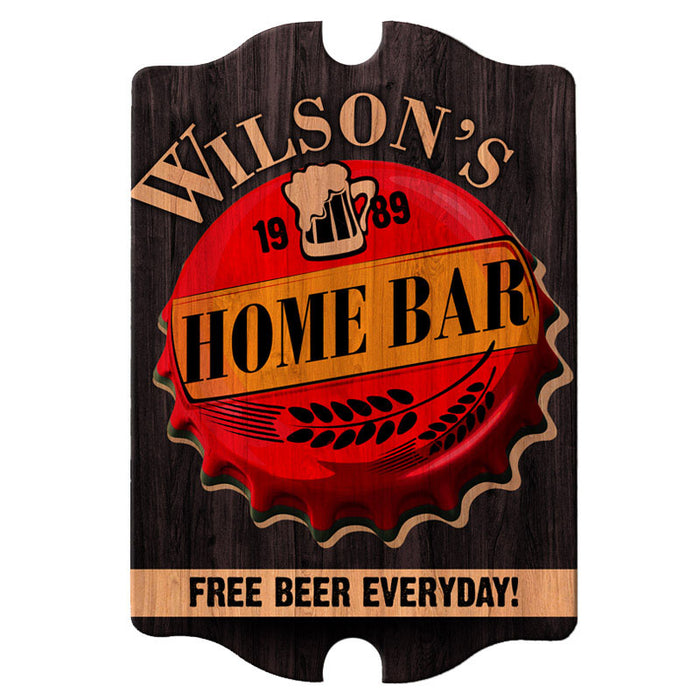Custom Tavern Shaped Wood Bar Sign - Home Bar