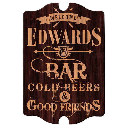 Custom Tavern Shaped Wood Bar Sign - Bar Welcome