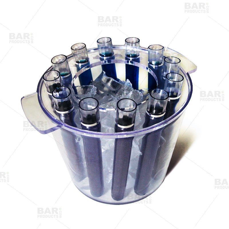 ice bucket with test tube shooters