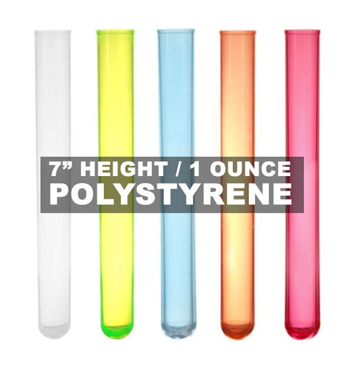 "Long SHOTZ® 7"" Test Tube Shooters, Smooth Polystyrene (100 Pack)"