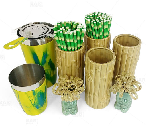 Tiki Drinkware Bar Set - Bamboo