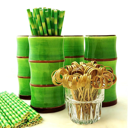 Tiki Mug Drinkware Set - Green Bamboo