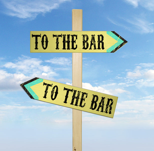 To the Bar Wood Arrow Signs