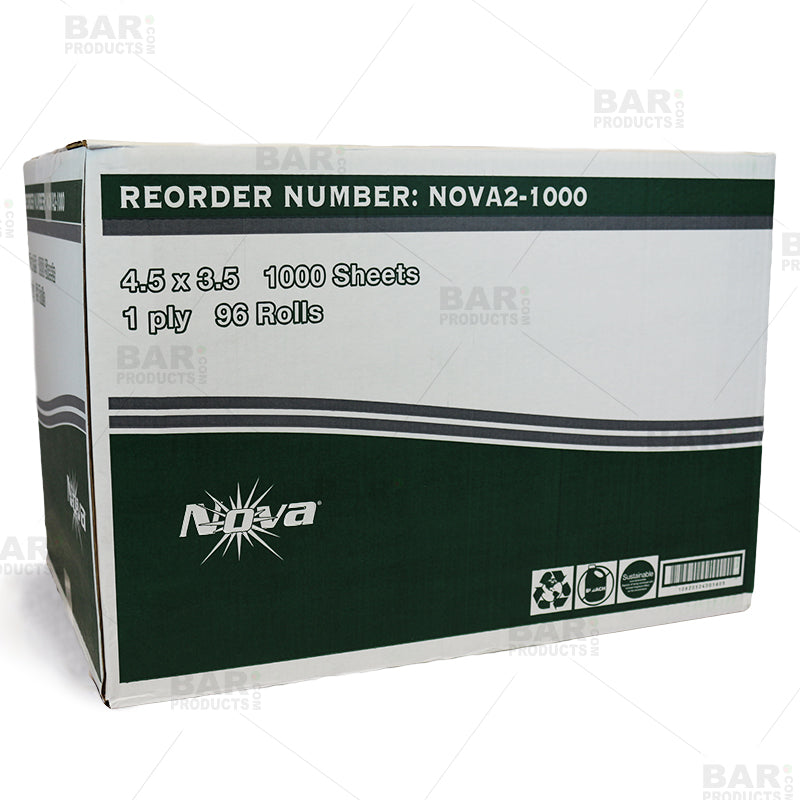 "Nova Bath Tissue 1 ply - 1000 Sheets/Case of 96 - 4.5"" x 3.5"""