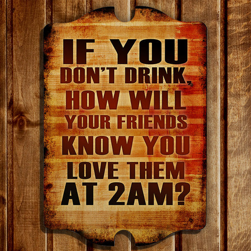 Tavern Shaped Wood Bar Sign - 2 AM