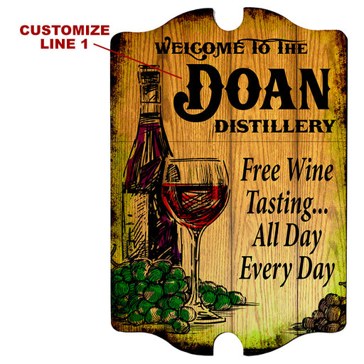 Custom Tavern Shaped Wood Bar Sign - Distillery