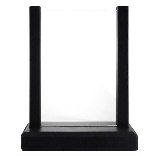 "Black Wooden Table Stand for Flyers, Menus and Events – 6.75"" x 4.5"" Double Sided View"