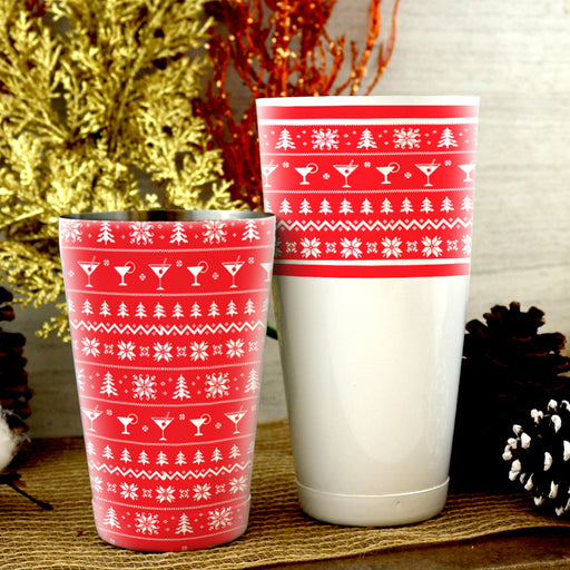 Ugly Sweater Shaker Set - 28 / 18 ounce - Red and White