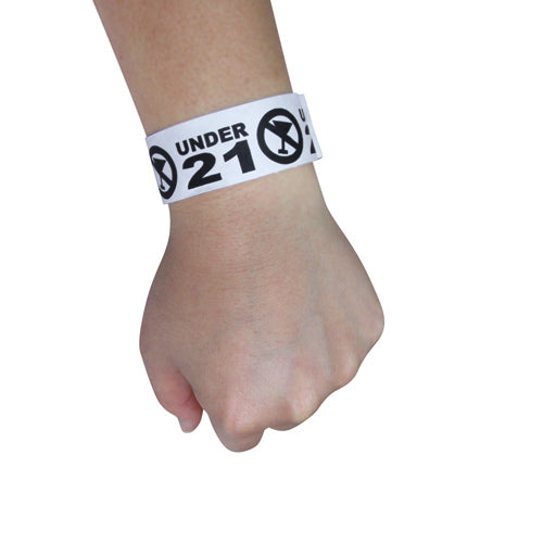Black Under 21 Numbered Wristbands – 500 count