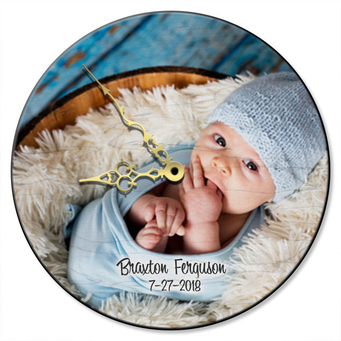 UPLOAD YOUR PHOTO - Personalized Wooden Clock - Several Options