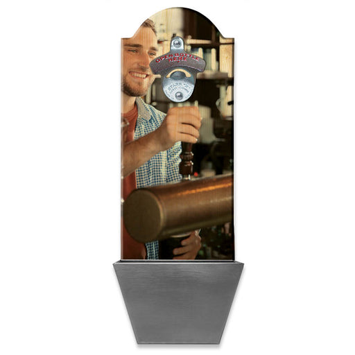 "UPLOAD YOUR PHOTO - Wall Mounted Wooden Bottle Opener w/ Cap Catcher - 15.5"" x 5.5"""