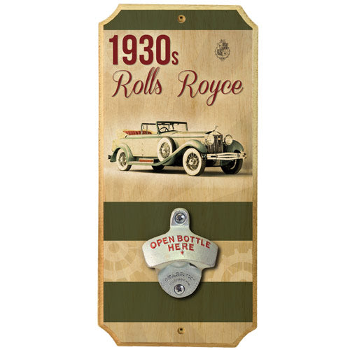 1930s Car - Wall Mounted Wood Plaque Bottle Opener