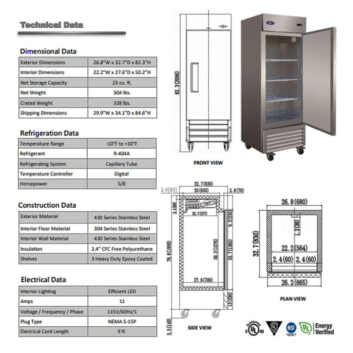 SWING DOOR MERCHANDISER FREEZER – 23 CU. FT.