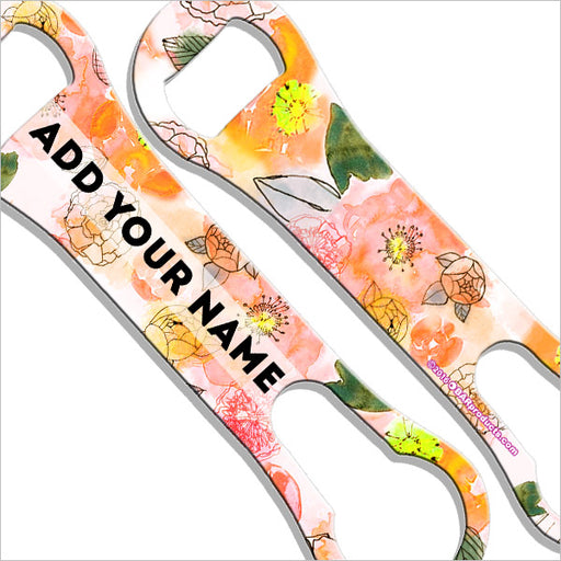 ADD YOUR NAME V-Rod® Bottle Opener - Watercolor Flowers Yellow