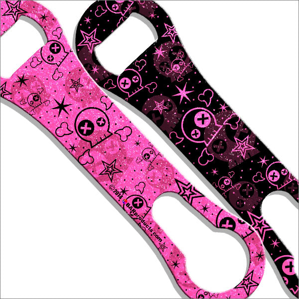 Kolorcoat™ V-Rod® GLITTER Bottle Opener - Cute Skulls