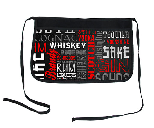 """Liquor Names"" Black Two-Pocket Kolorcoat™ Server Apron"