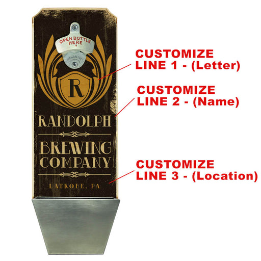 CUSTOMIZABLE Wall Mounted Wood Plaque Bottle Opener & Cap Catcher - Brewing Company