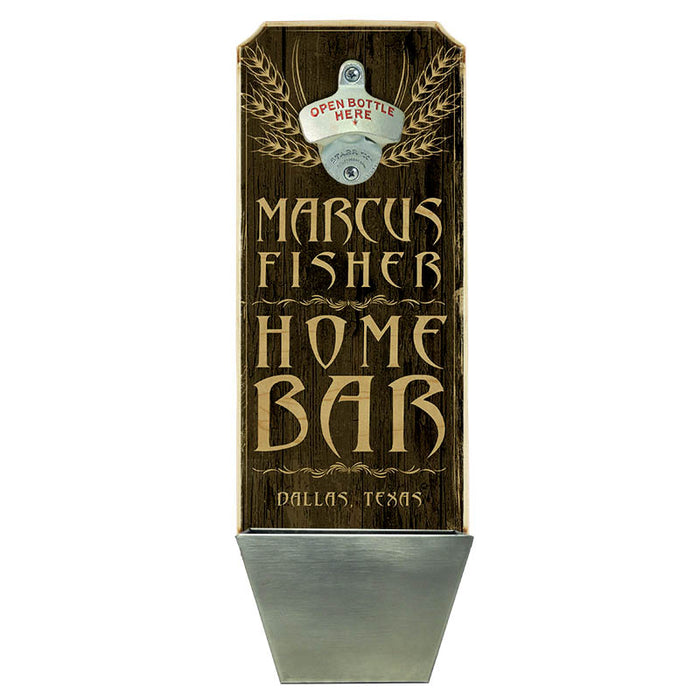 CUSTOMIZABLE Wall Mounted Wood Plaque Bottle Opener & Cap Catcher - Home Bar