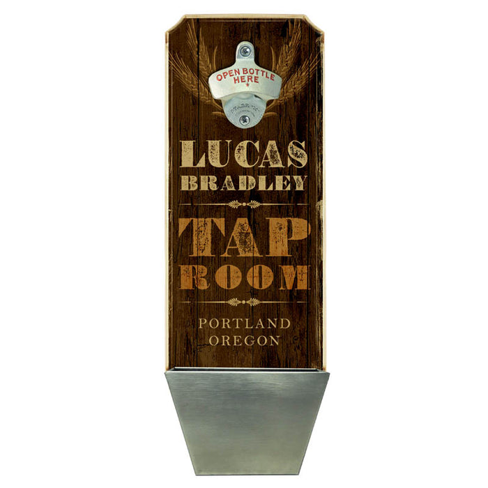 CUSTOMIZABLE Wall Mounted Wood Plaque Bottle Opener & Cap Catcher - Tap Room