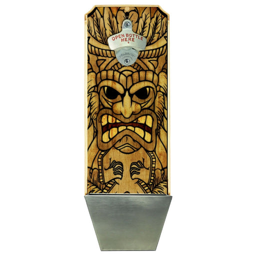 Wall Mount Bottle Opener with Cap Catcher- Tiki Man