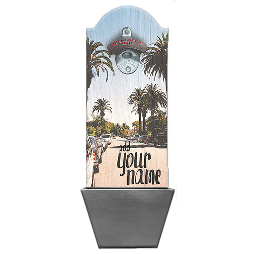 Cali Palms Custom Wooden Bottle Opener with Cap Catcher