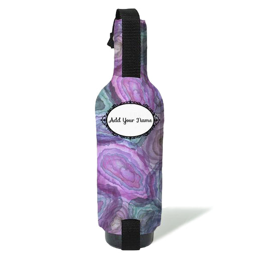 ADD YOUR NAME - Wine Bottle Cooler with Strap -  Blue/Pink Watercolor