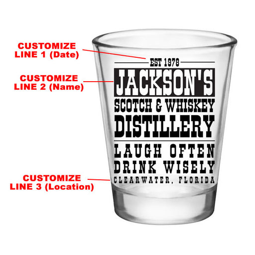 CUSTOMIZABLE - 1.75oz Clear Shot Glass - Scotch & Whiskey
