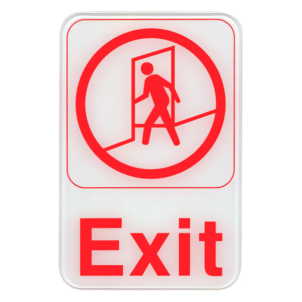 "Exit - Red on White Sign - 6""x9"""
