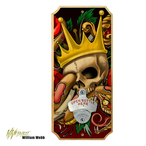 The King Tattoo - Wood Plaque Wall Mounted Bottle Opener