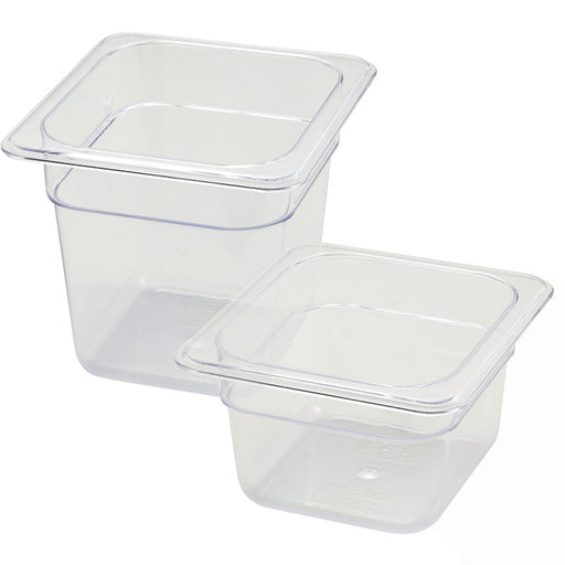 1/6 Size Clear Polycarbonate Food Pan (Various Sizes)